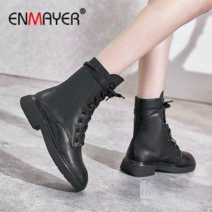 Enmayer 2020 stivaletti per le donne in vera pelle di punta rotonda pizzo pizzo stivali da moto stivali quadrati tacco invernale scarpe da donna taglia 34 39 marrone o9wk #