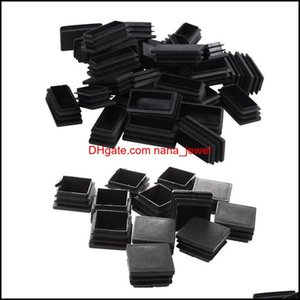Bathroom Aessories Home Gardenpcs Plastic Ribbed Square End Caps Tube Insert Black, 35 X 35Mm & 30Pcs 25X50Mm Black Bath Mats Drop Delivery