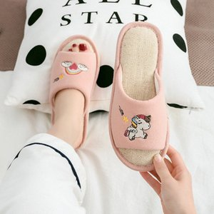 Women Flax Slippers Home Breathable Indoor Cute Unicorn Embroidery Non Slip Slides Casual Female Ladies Shoes Men Couple House D0zC#