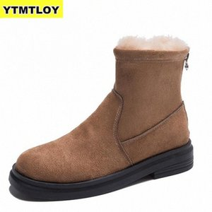 Nuevas botas de mujer Mid becerro abajo Bota alta Bota impermeable Snow Snow Zapatos de invierno Mujer Polla de felpa Feminina Botas MUJER NEGRO E5QB #