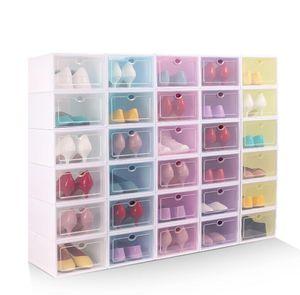 Chaussure de designer Épaissir Clear Plastic Shoe Boîte à chaussures anti-poussière Boîte de rangement Flip Chaussures transparentes Boîtes Couleurs Couleur Couleur Chaussures empilables Designer 88