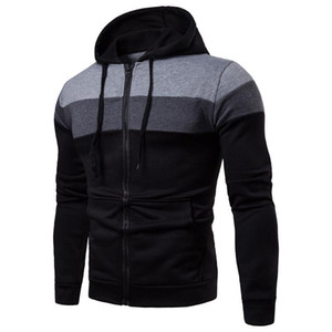 Winter New Hooded Cardigan Big Pocket Sweatshirt Mens Contrast Stitching Slim Casual Fashion All-Match Trendy Men Jacket