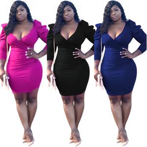 Massivfarbe Puff Sleeve Designer Womens Hips Kleid Sexy Tiefe V-ausschnitt Langarm Casual Kleid Herbst Winter Weibliche Kleidung