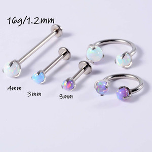 New grabbing orb stainls steel T-shaped opal studs 16g horshoe lip Earrings nose rings
