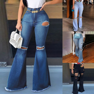 Sexy Vintage Gat Ripped Jeans Wife Blow Pipes Denim Flare Slender High Taille Party Casual Broek Bodycon Bell Bottoms