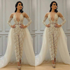 2021 Jumpsuit Evening Dresses Long Sleeves Lace Illusion Sheer Neck with Overskirt Tulle Custom Made Celebrity Party Prom Ball Gown vestido
