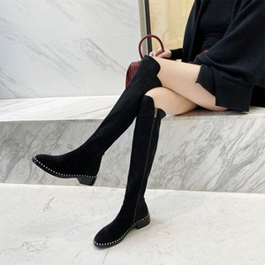 Over The Knee Boots Women Were Thin Flat High Boots 2019 Winter New Knight B83p#
