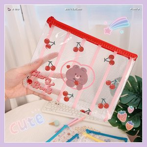 Ins Wind Mesh Transparent Document Bag Waterproof Storage File Student Stationery Travel and Sorting