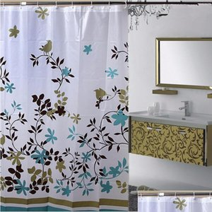 Wholesale- Floral 1.8*1.8m Waterproof Peva Shower Bathroom Curtain With Hooks Bathing Shower Curtain Fabric Home B jllbNR xmhyard