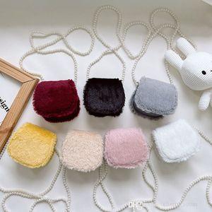 Children designer princess handbag purse autumn winter kids letter plush one shoulder crossbody bag fashion girls chain zero wallet F723