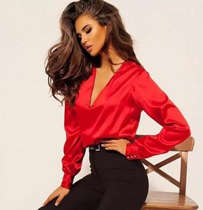Autumn Casual Sexy Deep V-neck Satin Blouse Long Sleeve Button Office Lady Shirts New Fashion Women Tops