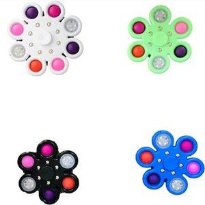 Luminous dedo dedo bubble top toys pioneiro fingertip spinner push push pilhete diodo emissor de diodo emissor de luz de ansiedade aliviar o tensão Educacional Decompression Toy Squeeze Sensorg67D671