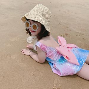Enfants dorure de maillot de bain sirène robe de maillot de bain bébé filles bandes bandes bow maillot de bain 2021 été bikini enfants enfants z2492
