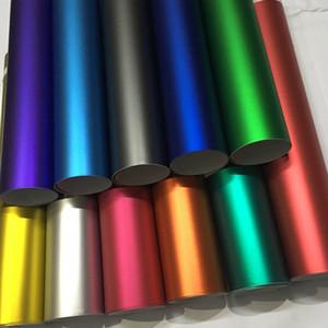 2020 Yeni 13 Renkler Kırmızı Mavi Altın Yeşil Mor Mat Saten Krom Vinil Wrap Film Sticker Çıkartması Kabarcık Ücretsiz Araba Sarma Filmi