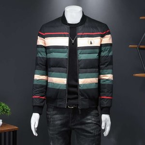 2020 Winter New Stripe Men's Trend Warm Slim Baseball Down Jacket Surprise Price Recommend