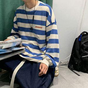 2021 New Loose Striped t Shirt Men Oversized T-shirt Casual Korean Style Tops Streetwear Fashion Autumn Long Sleeve Shirts Males K34e