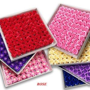 81 PCS Jabón de rosa Flower Set 3 Capas 16 colores sólidos en forma de corazón Rose Soap Flower Romántico Boda Fiesta Regalo Pétalos Hecho A Mano Decoración WLL902