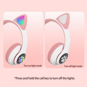 Hot Sale Headphones Cute Foldable Cat Ear Headset LED Lights Glowing Headphones Earphone Universal High Quality Noise Cancelling