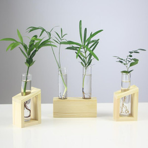 Home Vase Crystal Glass Test Tube Vase In Wooden Stand Flower Pots for Hydroponic Plants Home Garden Decoration