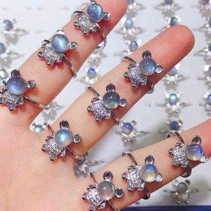 Кольцо Gemstone кольцо лунного камня кольцо медведя