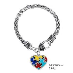 Skyrim autism الوعي لغز بانوراما الكلاسيكية الفضة مطلي الأزياء ساحة المينا سحر سوار لسكان التوحد