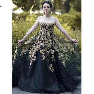 2021 Gold And Black Wedding Dresses Vestidos De Novia Floral Applique Strapless Lace-up Formal Party Dress Women Plus Size Special Occasion