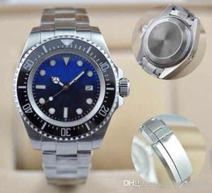 Presente de Natal Mens de luxo relógio de pulso de pulso de pulseira de cerâmica de aço inoxidável de aço inoxidável d-azul 44mm relógio 126600 Sea-Dweller Mens assistir frete grátis