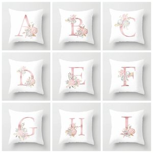 Fashion 26 English Letter Cushion Covers Home Decor Pillow Case Pattern Sofa Cushions Bedding Sets Soft Flower LLS762