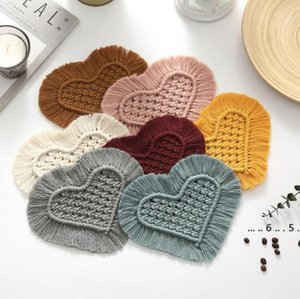 Insulation Pad Bohemian Hand-Woven Heart-Shaped Tassel Coaster Placemat Cotton Rrope Heat Table Mat Insulation Pads 7 Colors FWE4764