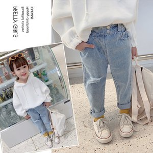 TG Korean INS New Spring Summer Kids Girls Jeans Hole Trousers Quality Elastic Waist Autumn Children Unisex Pants