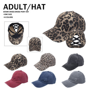 6 styles Leopard Washed Cotton Fashion Popular Denim Baseball Cap Magic Tapes Cross Hat Ponytail Ball Cap LLA384