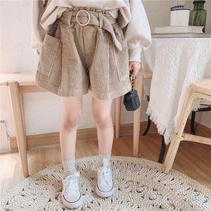 Wholesale Newest INS Kids Girls Boys Shorts Straps Belt Autumn Spring Corduroy Material Shorts Children Bountique Clothes for 1-7T