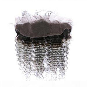 옹 브레 그레이 페루 깊은 파도 인간의 머리카락으로 레이스 정면 어두운 뿌리 1b 실버 그레이 옴 브레 13x4 레이스 정면 폐쇄 번들