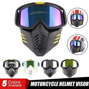 Motorcycle Helmets Helmet Visor Motor Racing Goggles Outdoor Riding Mask Detachable Windproof Dust-proof Full For Universal
