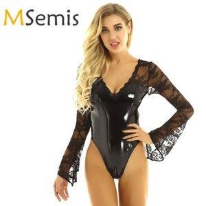 Trajes de baño para mujer Wetlook Patente de patente de una pieza Trajes de baño de una pieza Lencería V-Cuello de encaje Flare Mangas largas Teddy BodySuit Clubwear