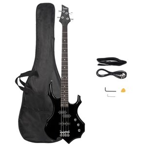 Glassry Burning Fire Biving Bass Guitar Full Size 4 String Bag Strap Paddle Cable Wrench Tool Black Spedizione gratuita