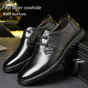 2019 nuovo 100% in pelle business casual da uomo scarpe piatte fondo flat traspirante scarpe pigre singolo morbido fondo indossare yeeloca 22ex #