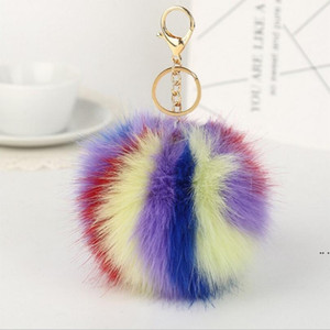 Fox мех мяч плюшевые брелок круглый шар пушистые игрушки брелок волосатый автомобиль брелок сумка кулон брелок подарок мода аксессуары DHC6541