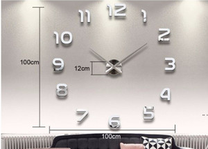 Accueil Décoration Big Number Miroir Horloge murale Moderne Design Grand Horloge mural Horloge murale 3D Wall Wall Cadeaux uniques HWB5336