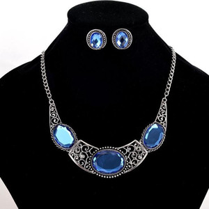 Silver Plated Choker Necklace Earrings Jewelry Sets Personaly Bridal Large Blue Crystal Jewelry ps0981