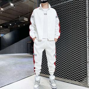 M-6XL плюс размер мужской досуг спортивный костюм куртка брюки отражающие полосу две части набор для молодых студентов