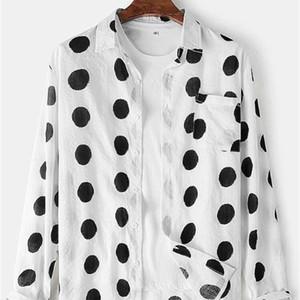 2020 men's dot print Lapel daily long sleeve shirt pocket