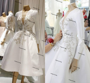 Vintage Tea-length 1920s' Wedding Dresses Long Sleeve 2021 Lace Floral Puffy Skirt Country Boho Bridal Second Reception Gowns