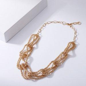 Богемия из бисера полые матовые металлические звена цепь колье хип-хоп золото серебряное цветное воротник ожерелье для женщин подарки друзья ювелирные изделия оптом