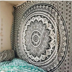 Large Mandala Indian Tapestry Wall Hanging Bohemian Beach Mat Polyester Thin Blanket Yoga Shawl Mat 200x150cm Blanket Y200324