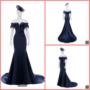 2021 New Arrival navy blue mermaid evening dress off the shoulder sweetheart neckline ruffled formal evening gowns hot sale court train
