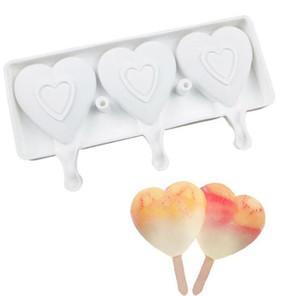 식품 안전 실리콘 아이스크림 금형 3 세포 심장 모양 냉동 주스 팝 캔디 메이커 디저트 금형 욕조 발렌타인