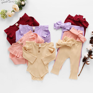 kids clothes girls Solid color outfits infant ruffle Flying sleeve Tops+pants+Bow 3pcs sets fashion Spring Autumn baby Clothing Sets Z2413