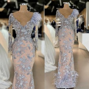 Formal Mermaid Evening Dresses with Long Sleeve 2021 Feather 3D Floral Lace Beaded Arabic Illusion Prom Dress Party Wear abiti da cerimonia