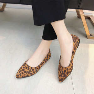 New Woman Female Leopard Loafer Toe Mom Shoes Slip Print Flats Women Flock Pointed On Ladies Casual Comfortable Womens Footwear k4W2#
